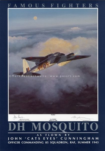 """DH MOSQUITO by MARK POSTLETHWAITE   -     <br> Signed by John """"Cats Eyes"""" Cunningham"""