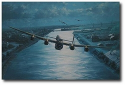 """<big><center>""""En-Route"""" by Anthony Saunders <br/>Two Dambusters Signatures</center></big>"""