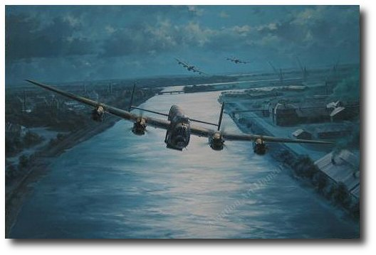 "<big><center>""En-Route"" by Anthony Saunders <br/>Two Dambusters Signatures</center></big>"
