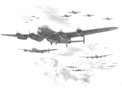 """<big><center>""""En-Route to the Bielefeld Viaduct"""" <br/>by Nicolas Trudgian<br/> The First Time The Grand Slam Bomb Was Used Operationally. </center></big>"""