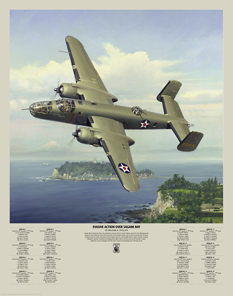 "Evasive Action Over Sagami Bay<br> By Bill Phillips<br><b style= ""color: blue; font-weight:bold,"">    Doolittle Raid<br></b>"