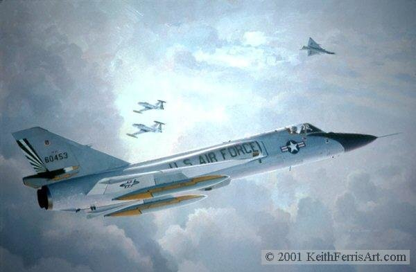 Farewell Old Friends <br>By Keith Ferris<br> F-106: T-33<br>