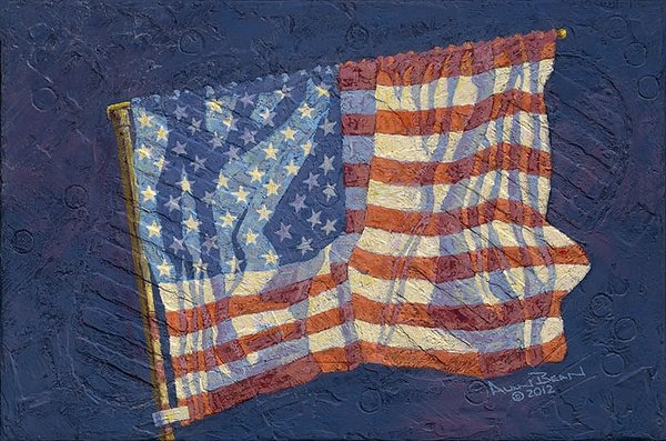 FIRST FLAG<br> New Giclee Canvas Edition<br> by ALAN BEAN