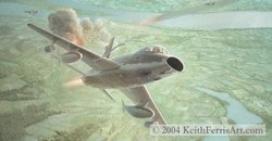 First In<br>By Keith Ferris<br> F-105s: F-100s<br>