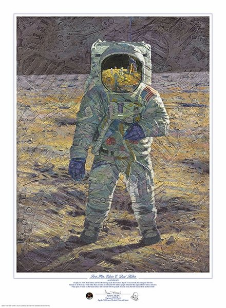"First Men -  Edwin E. ""Buzz"" Aldrin by Alan Bean"
