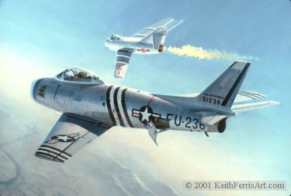First Swept Wing Encounter<br>By Keith Ferris<br> F-86: Mig<br>