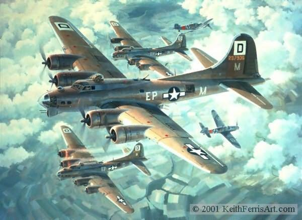 Fortresses Engaged<br>By Keith Ferris<br> 100th Bomb Group<br>