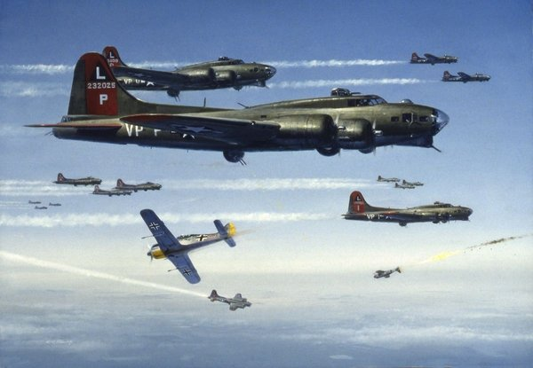FW-190s Attacking a B-17 Flying Fortress <br> By R.G. Smith