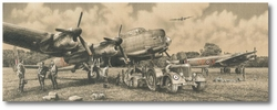 """<center><big> """"Grand Slam"""" <br>by Richard Taylor<br>Tribute Edition<br> Seven Lancaster Crewmember Signatures<br>With Matted ORIGINAL drawing <br/></center></big>"""