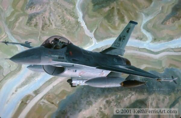 GREETINGS FROM THE WOLFPACK by KEITH FERRIS <br> F-16 Falcon