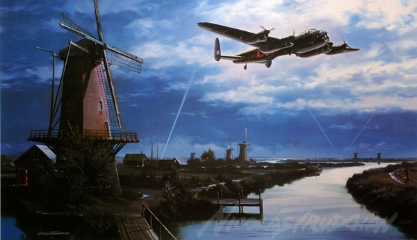 "<big><center> ""Homeward Bound"" by Nicolas Trudgian<br/>Seven Dambuster Signatures<br/>Remarque<br/></center></big>"