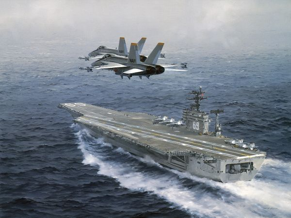 Hornets Over the USS Eisenhower<br> Giclee Canvas by R.G. Smith<br>