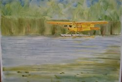 J-3 Cub - Original Watercolor<br> By Janet Archibald<br> $395<br>
