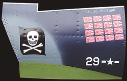 """</b><b style= """"color: red;font-weight:bold,"""">   NEW  </b>JOLLY ROGERS - F-4U  Nose Art Panel by GARY VELASCO"""