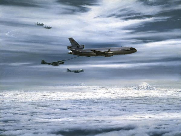 KC-10 REFUELLING A-6s -  WITH F-15s AS COVER by R.G. SMITH