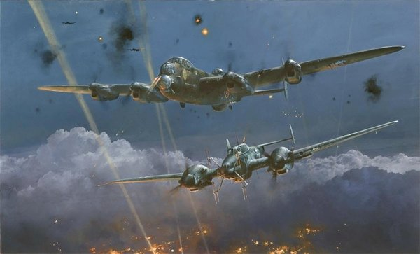 Lancaster Under Attack<br> NEW GICLEE CANVAS<br> By Robert Taylor