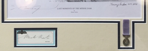 "<center><big> ""Last Moments of the Möhne Dam"" by Robert Taylor<br>Two Dambuster Signatures<br>Number 31 of 50<br/><center></big>"