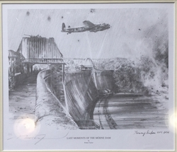 """<center><big> """"Last Moments of the Möhne Dam"""" by Robert Taylor<br>Two Dambuster Signatures<br>Number 31 of 50<br/><center></big>"""