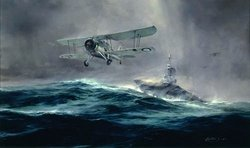 "Launch Against The Bismarck by Robert Taylor <br><b style= ""color: blue;font-weight:bold,"">   REMARQUED</b>"