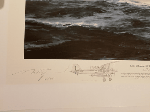 """Launch Against The Bismarck by Robert Taylor <br><b style= """"color: blue;font-weight:bold,"""">   REMARQUED</b>"""