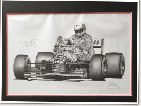 "<big><center> ""Legends"" by Alan Stammers<br>Nigel Mansell in Williams #5</big></center>"