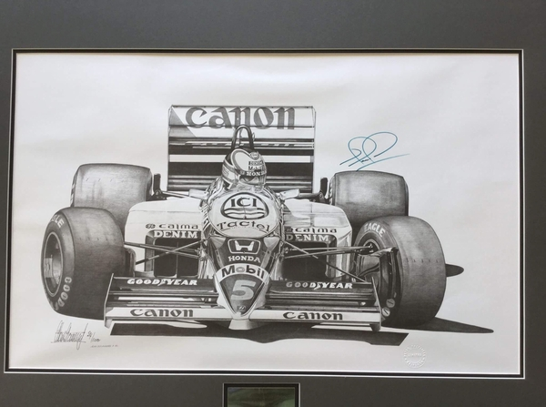 <big><center>Legends Series by Alan Stammers<br>1986 Williams Honda<br>Nigel Mansell Signed</big>