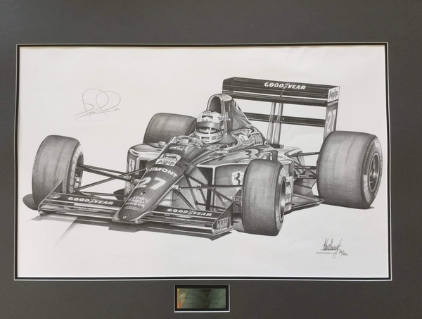 <big><center>Legends Series by Alan Stammers<br>1989 Ferrari 640<br>Nigel Mansell Signed</big>