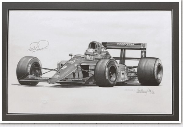 <big><center> Legends Series by Alan Stammers <br>Nigel Mansell Signed<br>Peter Ratcliffe limited edition 294/750</big></center>