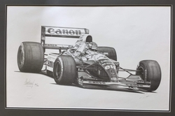 <big><center> Legends Series by Alan Stammers<br>Nigel Mansell Signed<br>Peter Ratcliffe Limited Edition Number 196 of 750</big></center>
