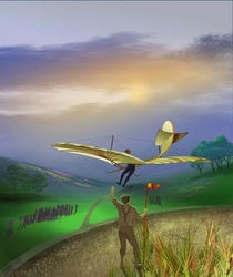 "<b> ""LILLENTHAL'S GLIDER"" by DALE DUNN<br>"