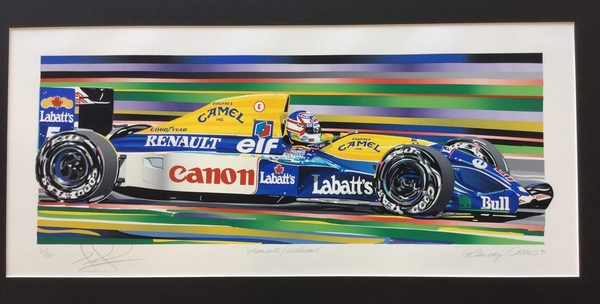 "<big><Center> ""Mansell/Williams"" by Randy Owens<br>Original Serigraph<br>Number 61 of 130<Br>Autographed by Nigel Mansell"