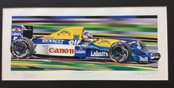 """<big><Center> """"Mansell/Williams"""" by Randy Owens<br>Original Serigraph<br>Number 61 of 130<Br>Autographed by Nigel Mansell"""