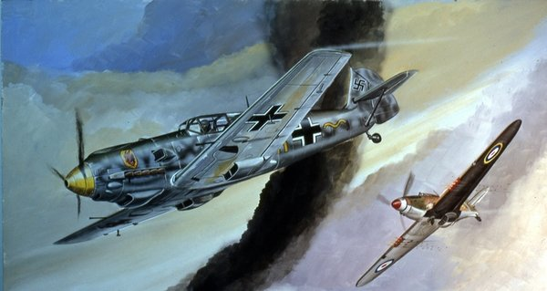 Me-109 - Hurricane by Lou Drendel