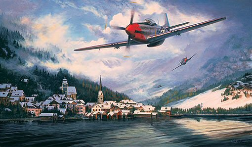 Mustangs Over The Reich by Stephen Brown<br> Original Oil Painting  $3,195<br>