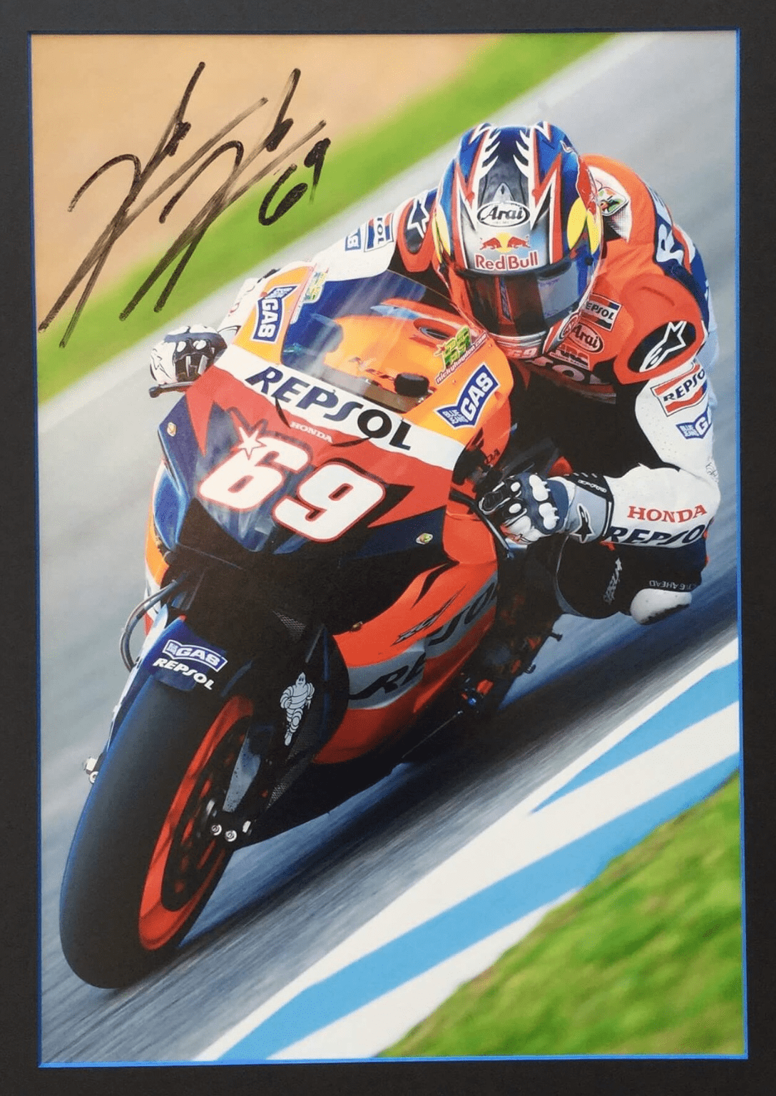 Big Center Nicky Hayden Signed Large Photo Br This Large Display Of The 2006 Motogp Champion