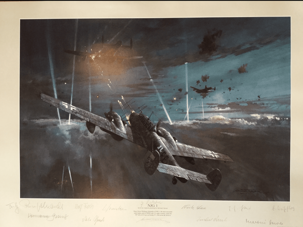 "<big><center>""NJG-1"" by Michael Turner<br/>Signed by ten NJG-1 air crew.</big></center>"