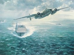 """North American B-25 <br> By John Young <br> Signed by Gen. Doolittle<br>  <b style= """"color: blue; font-weight:bold,"""">   Doolittle Raid</b>"""