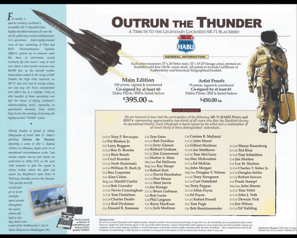"""<big><center> """"Outrun The Thunder"""" <br>by John Shaw<br>Special Edition<br>A Tribute to the SR-71"""