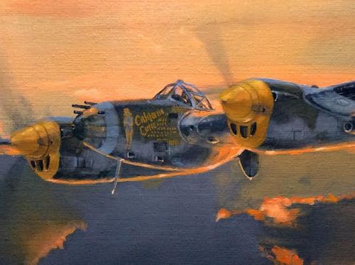 "P-38 LIGHTNING by BRIAN BATEMAN <b style=""color:red;font-weight: bold;"">ORIGINAL AVAILABLE</b>"