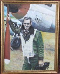 <big><big><center> �P51 Pilot Portrait� from 1945, Original Oil</big></big></center>