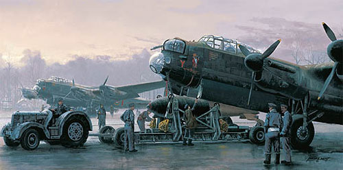 "<big><center> ""Preparing for the Tirpitz"" by Philip West<br>Four Aircrew Signatures<br>Remarque  </center></big>"