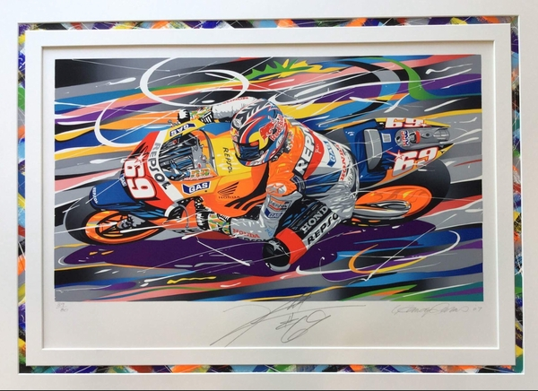 "<big><center>""Hayden"" by Randy Owens<br>Signed by Nicky Hayden, #69<br>#39 of 80</big><center>"