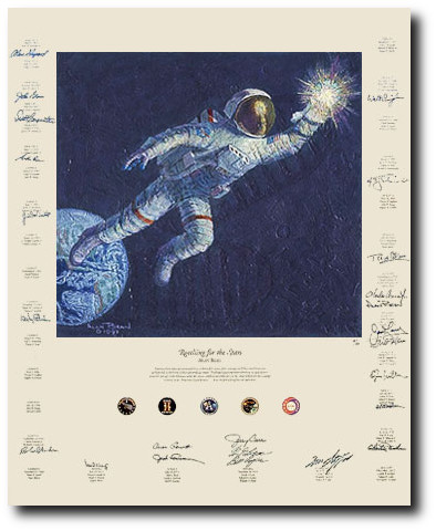 "REACHING FOR THE STARS <br>by ALAN BEAN<br><b style= ""color: blue;font-weight:bold,"">    Signed by John Glenn</b>"