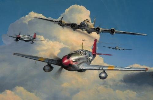"Red Tail Escort <br> By Richard Taylor<br> <b style=""color:red;font-weight: bold;"">    TUSKEGEE AIRMEN</b><br>"