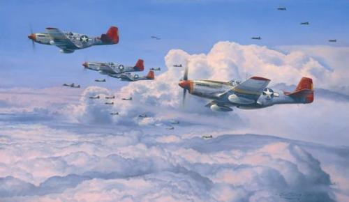 """""""Fighting Red Tails"""" <br> By Robert Taylor<br>   <b style=""""color:red;font-weight: bold;"""">   TUSKEGEE AIRMEN</b>"""