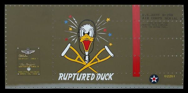 RUPTURED DUCK - Nose Art Panel by GARY VELASCO - b-25 <BR> Signed by Dick Cole and Tom Griffin