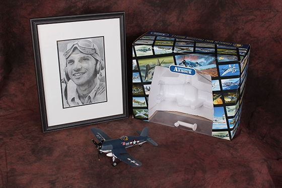 Signed F4U CORSAIR Metal Model and Framed Photo of Black Sheep Squadro