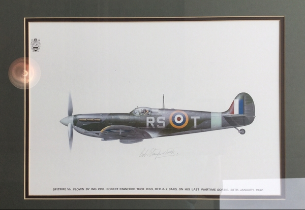 "<big><center> ""Spitfire Flown By Robert Stanford Tuck"" by D. Broomfield<br>Battle of Britain Ace Signed<br><br/></big></center>"