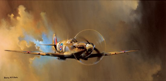 "Spitfire Mk V <br> By Barrie Clark<br> <b style=""color:red;font-weight: bold;"">"
