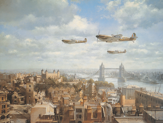 Spitfires Over London<br> By John Young<br>  $35<br>